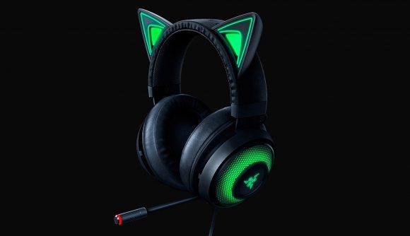 The black and green Razer Kraken Kitty gaming headset