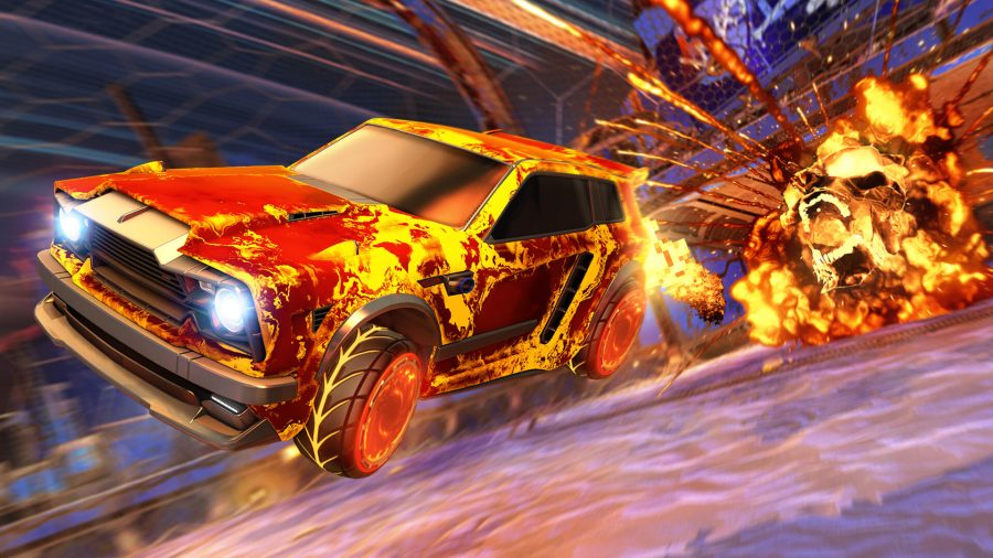 A fiery red car flying away from the Rocket League goal