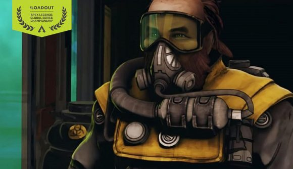 Caustic wears a gas mask and looks menacingly off-camera