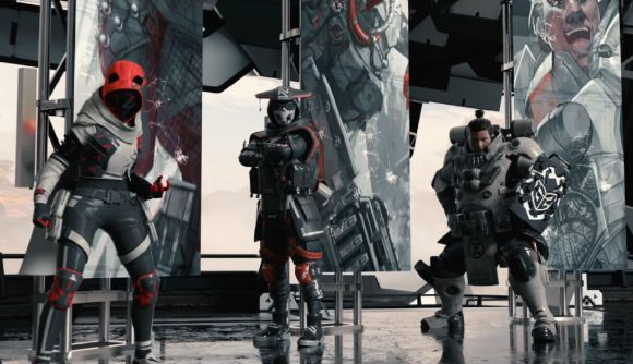 Wraith, Bloodhound, and Gibraltar wear G2's iconic black, red, and white livery
