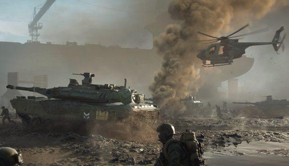 Tanks rumble across a battlefield
