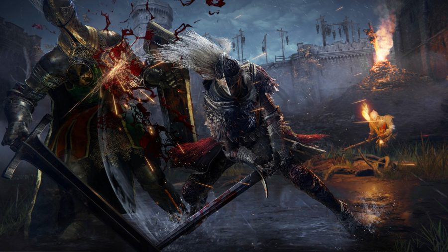 A knight swings their sword in the midst of a dark battle