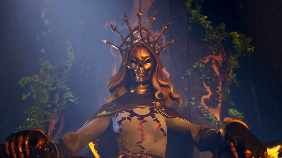 A Fortnite character with a gold metal face and gold headdress sitting on a stone throne