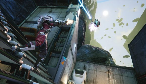 A character wearing a space-suit style outfit fires at an enemy floating high in the air