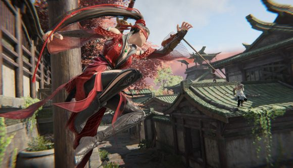 A hero in Naraka Bladepoint grapple hooks her away across the rooves of ancient temples
