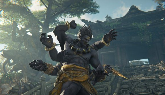 A Naraka Bladepoint character using their ultimate ability, transforming into a giant six-armed creature
