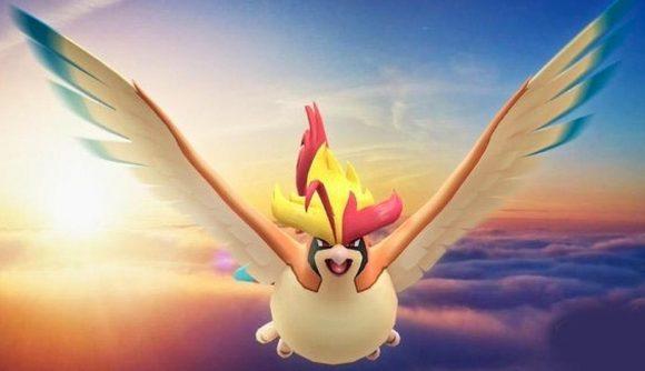Mega Pidgeot flies above the clouds