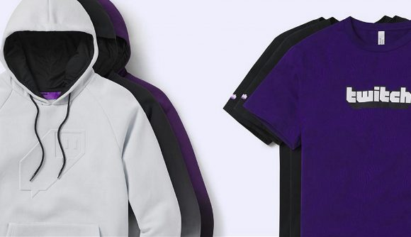 A white Twitch hoodie and purple Twitch t-shirt displayed side-by-side on a white background