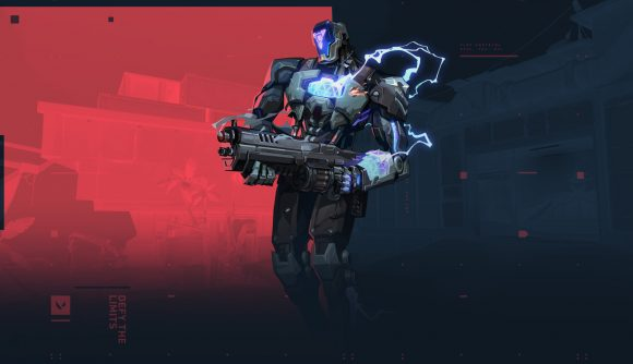 A robot with a rifle in front of a red and black background