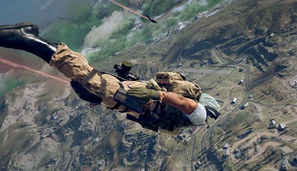 A Warzone player skydiving into battle