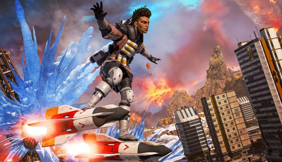 Bangalore riding two rockets way above the Apex Legends map