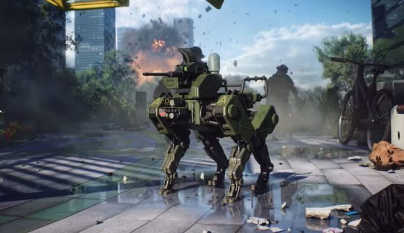 a robotic dog with a gun strapped to its nose stands in the middle of a battlefield