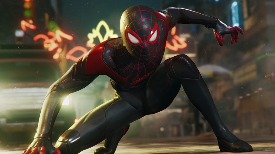 best PS5 games: Spiderman crouches on the ground