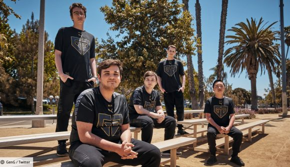 Gen.G's Valorant roster sat outside on benches, surrounded by trees