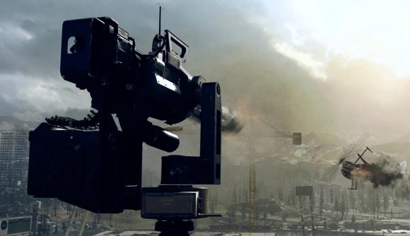 A sentry gun on a rooftop takes down a flaming helicopter in Call of Duty: Warzone