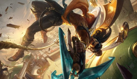 League of Legends champion Akshan flipping upside down in mid air and