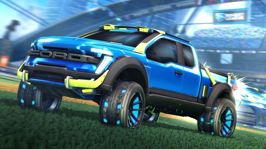 A blue Ford truck in Rocket League