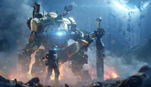 A giant mech looms over a Titanfall soldier