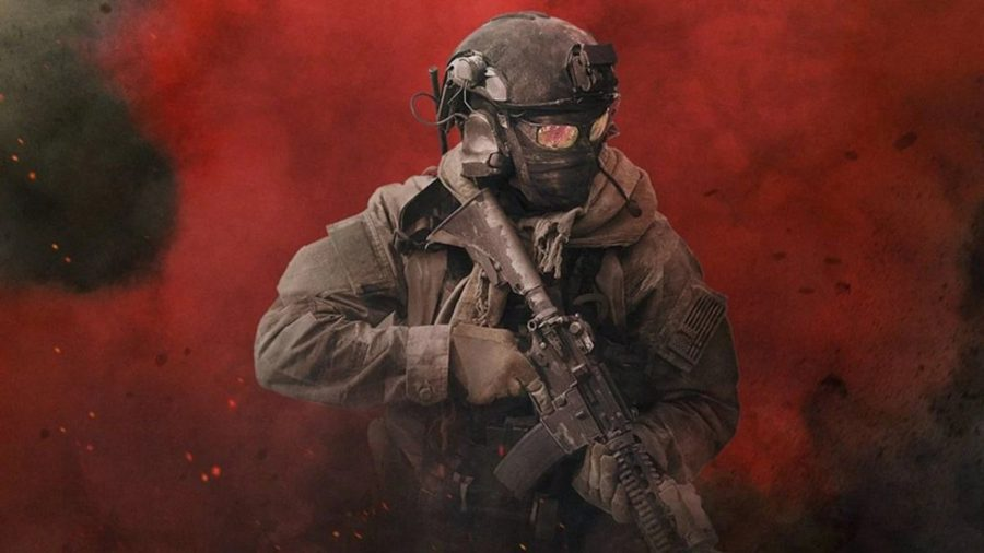 A soldier dressed in black wielding an M4 moves forward from red smoke in the background