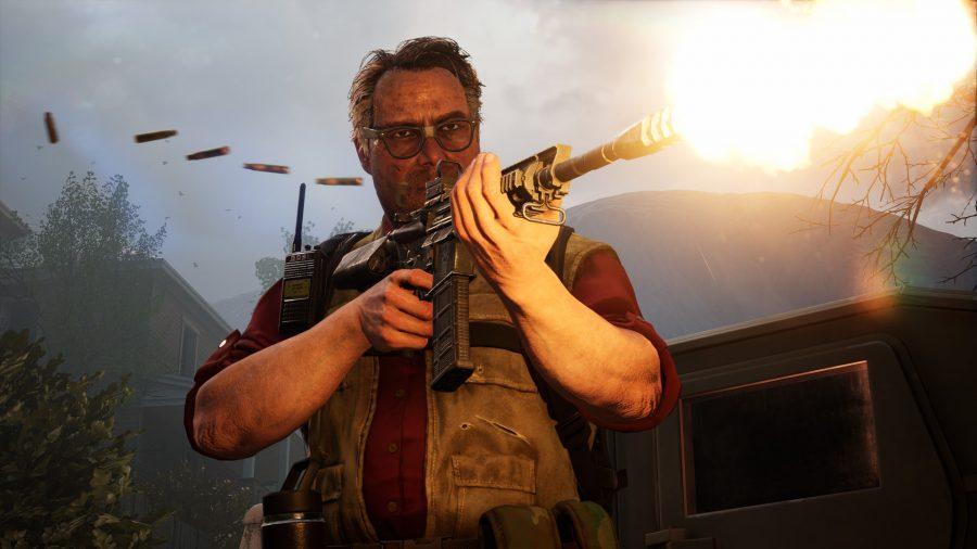 Hoffman fires an assault rifle at zombies