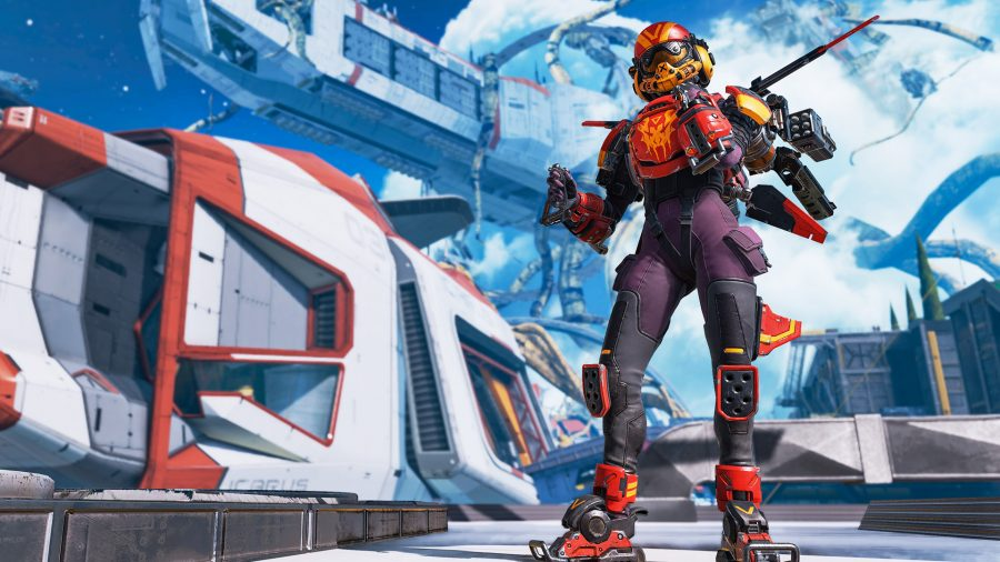 Valkryie, a playable character in Apex Legends wearing red armour and a jetpack