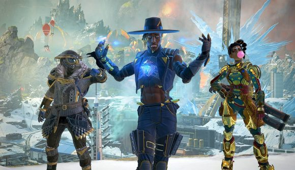 Three legends from Apex Legends, Bloodhound, Seer, and Rampart, stand in a line doing their victory poses
