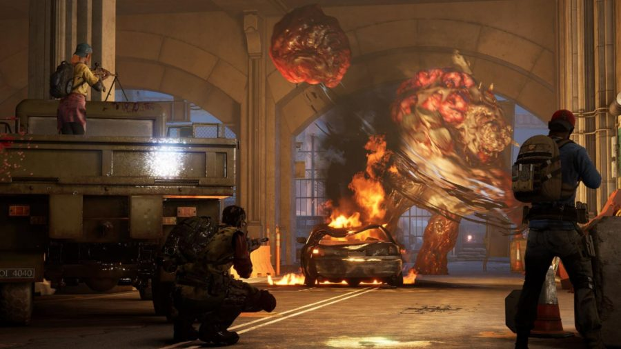 Three cleaners can be seen fighting an ogre.