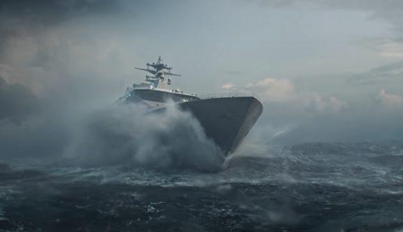 A ship crashes through the ocean waves during a storm