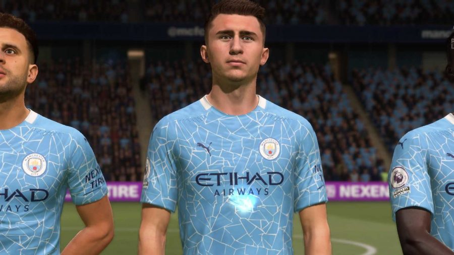Laporte stands in a Man City line up
