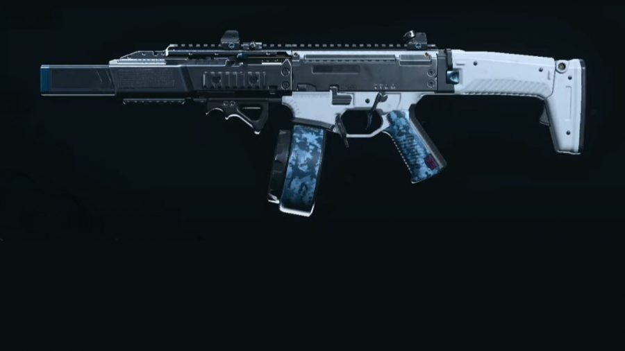 A CX-9 submachine gun in Warzone, painted in a white and blue camo, set against a black background