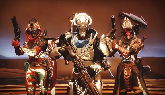 Three Destiny 2 Guardians, clad in armour from the Trials of Osiris