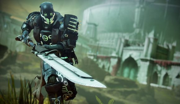 A guardian wielding a Glaive energy weapon in Destiny 2. It resembles a long sword