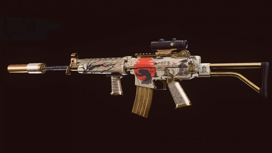 A silver and red-painted Krig 6 assault rifle on a black background in Call of Duty: Warzone