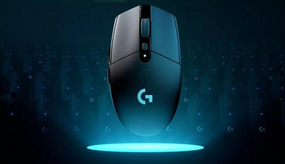 A Logitech mouse with a blue spotlight on it