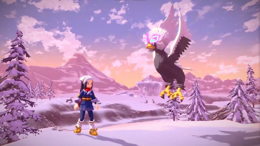 A Pokemon trainer looks up at a hovering Braviary against a snowy backdrop