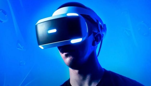 A man wearing the PlayStation VR headset