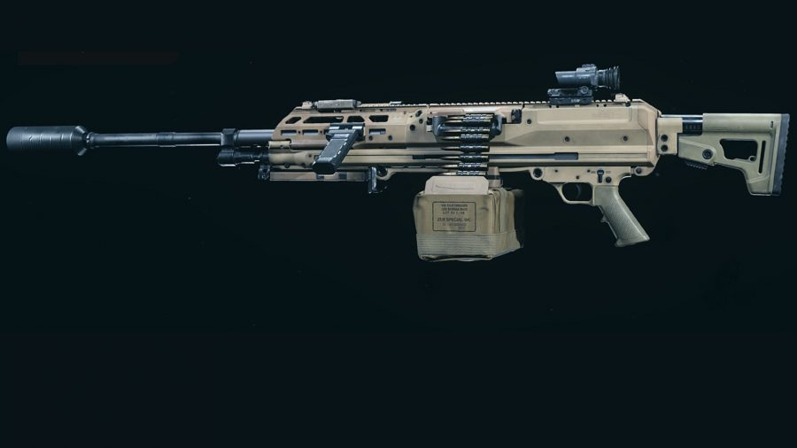 A sand-coloured RAAL MG set against a black background in Warzone