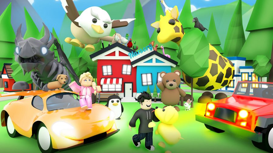 Several Roblox characters running away from a house and big animals