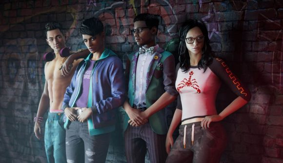 The lineup of main characters in Saints Row stand against a wall.