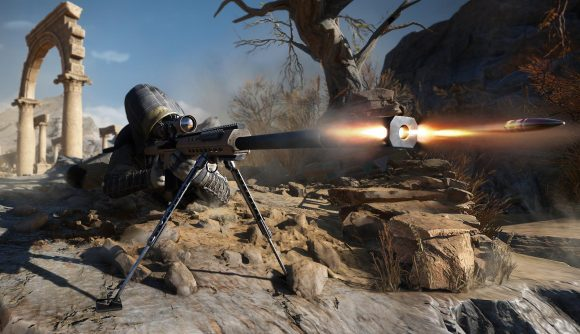 The player prones on a cliff and shoots a bullet.