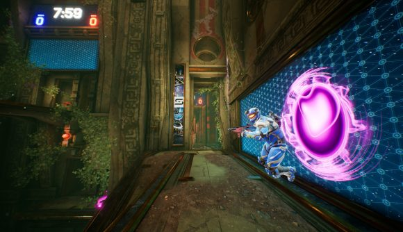 A player emerges from a purple portal in Splitgate
