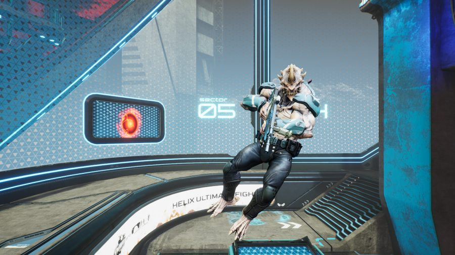 A Splitgate player jumps in front of the screen from an open portal
