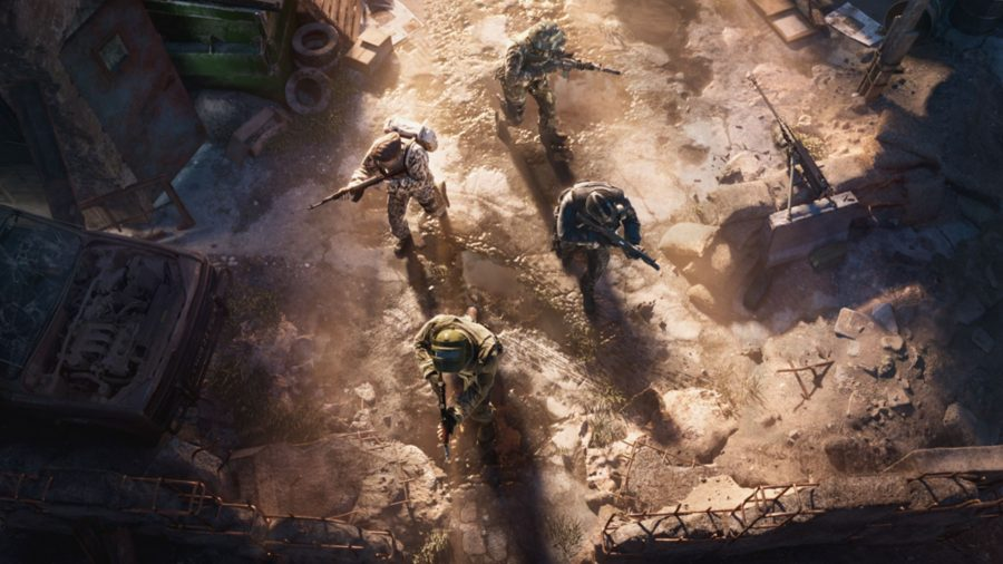 Four soldiers can be seen walking towards their objective.