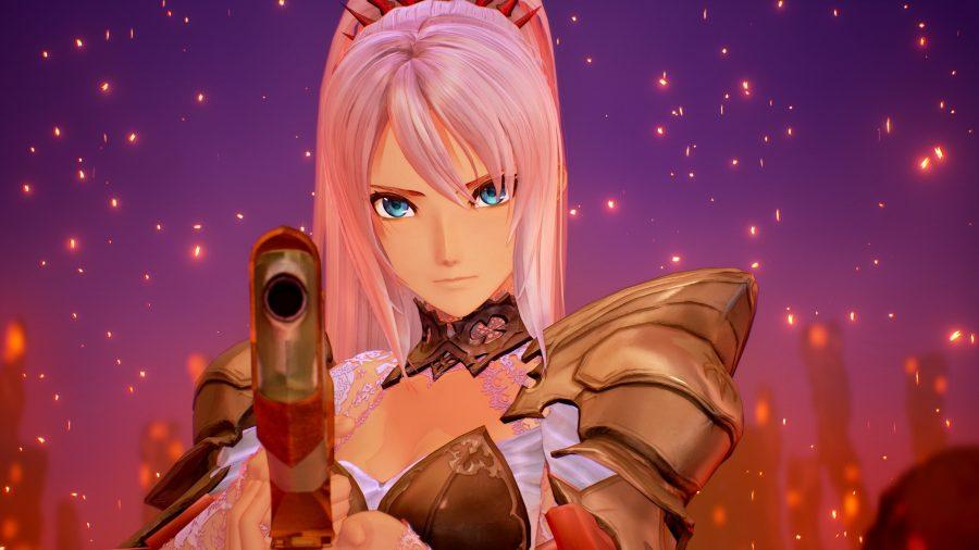 Shionne olha para a câmera enquanto aponta uma arma