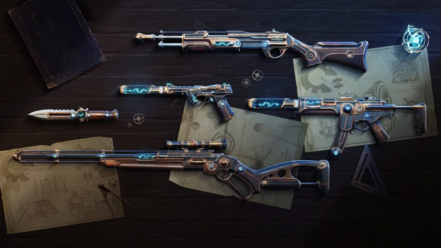 A series of Steam Punk inspired weapons sitting on a wooden planning table