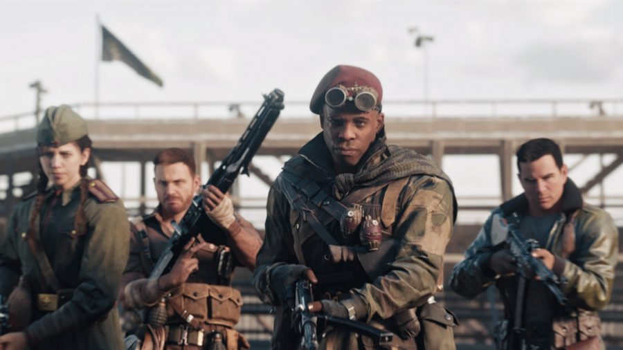 Four soldiers stare down the camera, each armed with World War 2 weapons and wearing WW2 military gear.