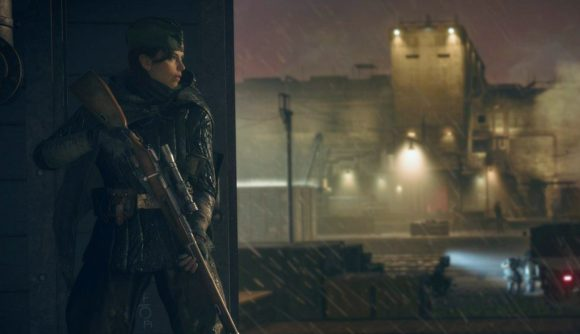 A female sniper lurks in the shadows, with a lit up fortress in the background