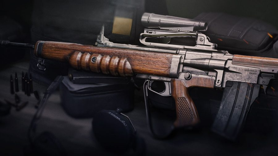 An EM2 assault rifle in Warzone. It has a brown wooden body with a metal scope