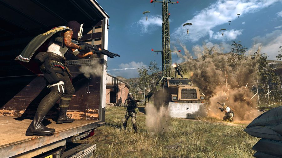 A Warzone battle rages. One Operator peeks out from the back of a truck. Two enemies take aim at her. Several operators are also parachuting in from above