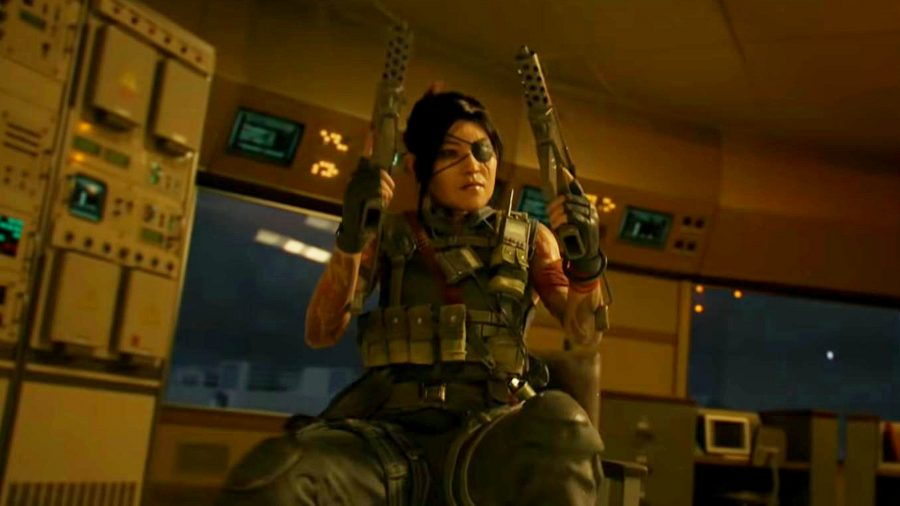 An operator sits in a chair holding wo TEC 9 pistols in the air. She is wearing an eye patch